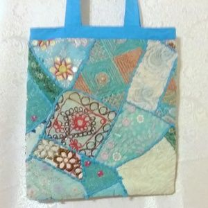 Vintage Embroidered Patchwork Beaded Boho Tote Bag